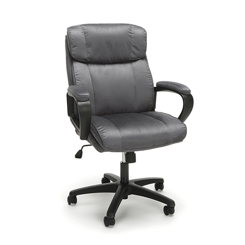 Gray Plush Microfiber Office Chair