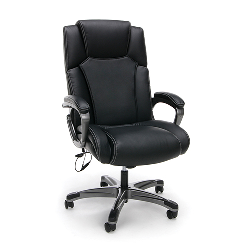 Black Leather Heated Shiatsu Massage Leather Executive Chair