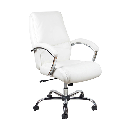 White Ergonomic High-Back Leather Executive Chair