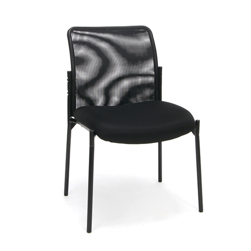 Black Mesh Upholstered Stacking Armless Side Chair