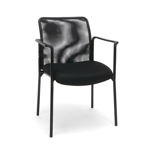 Ofm Office Furniture Black Mesh Upholstered Stacking Side Chair With
