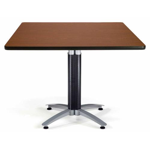 42-Inch Square Multi-Purpose Mahogany Table with Metal Base