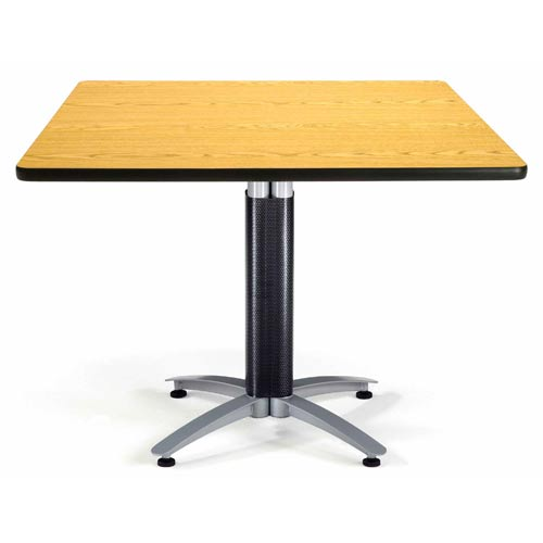 42-Inch Square Multi-Purpose Oak Table with Metal Base