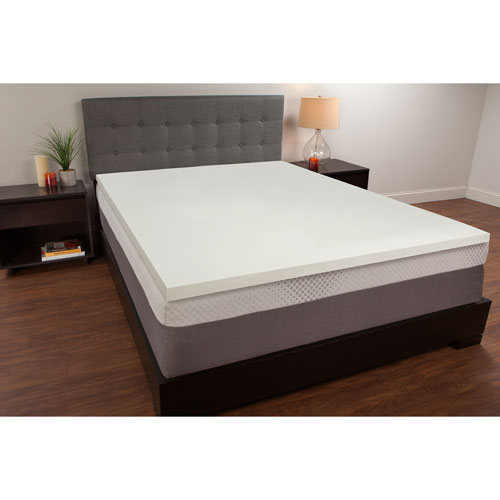 White 1.5-Inch Twin Memory Foam Mattress Topper