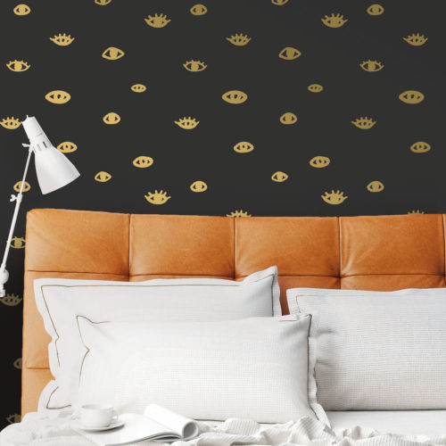Bobby Berk Black and Gold Eye See You Peel and Stick Wallpaper