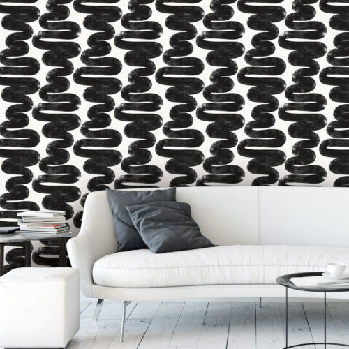 Bobby Berk White and Black Wiggle Room Peel and Stick Wallpaper