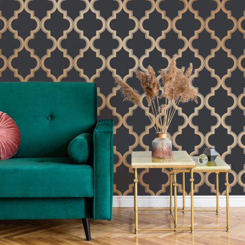 Marrakesh Midnight and Metallic Gold Peel and Stick Wallpaper - SAMPLE SWATCH ONLY