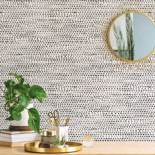 Moire Dots Black and White Peel and Stick Wallpaper