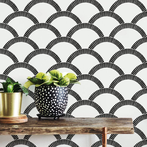 Mosaic Scallop Black and Cream 28 Sq. Ft. Peel and Stick Wallpaper