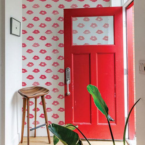 Novogratz Red Painted Lips Peel and Stick Wallpaper