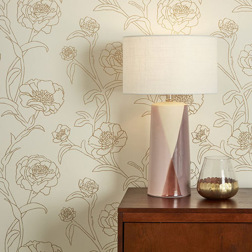 Peonies Gold 28 Sq. Ft. Leaf Peel and Stick Wallpaper