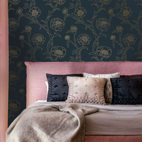 Peonies Blue and Metallic Gold 56 Sq. Ft. Peacock Peel and Stick Wallpaper