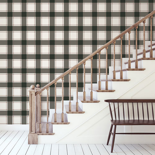 Plaid Black and Ivory Removable Wallpaper