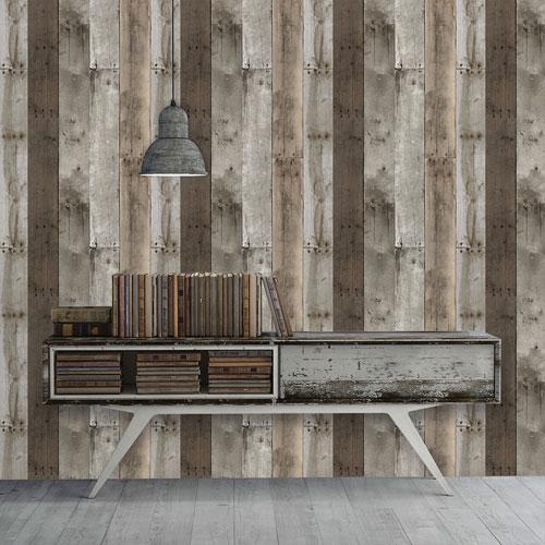 Repurposed Wood Removable Wallpaper