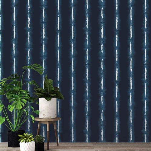 Shibori Lines Indigo Removable Wallpaper