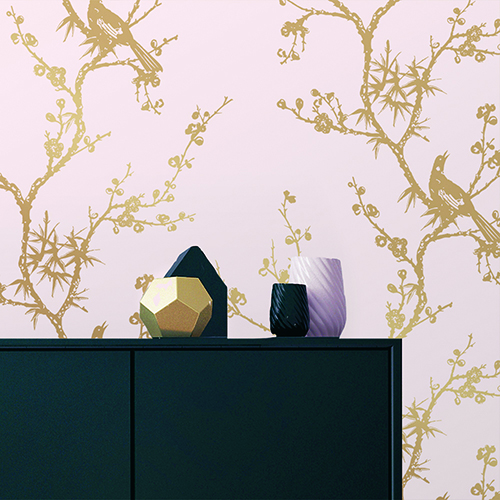 Bird Watching  Rose Pink and Gold Removable Wallpaper