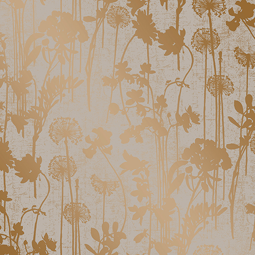 Distressed Floral Grey and Metallic Copper Removable Wallpaper