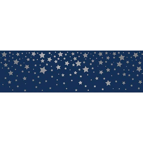 Falling Stars Navy and Metallic Silver Removable Wallpaper