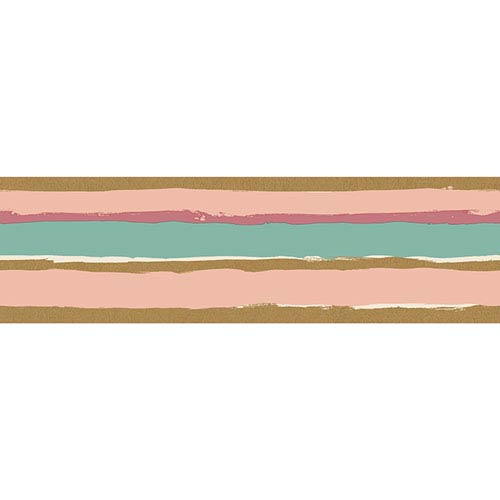 Painted Stripe Blush and Metallic Gold Removable Wallpaper