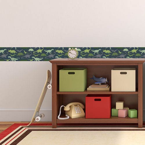 Tempaper Designs Dinosaurs Navy and Green Removable Wallpaper