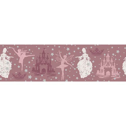 Princess Soft Pink and Metallic Silver Removable Wallpaper