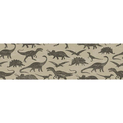 Dinosaurs Khaki Removable Wallpaper