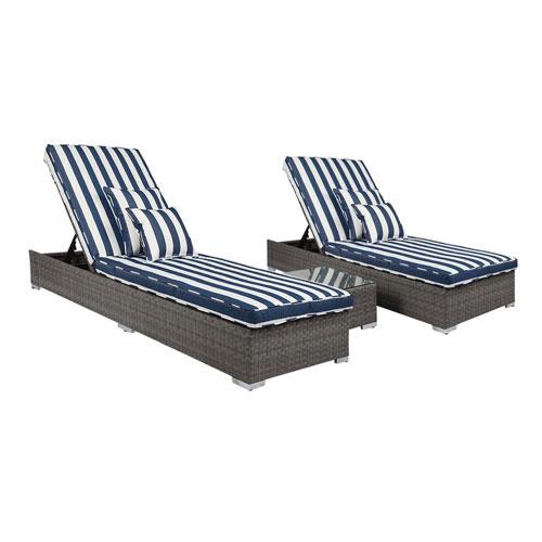 Lantis Gray and Navy White Stripe 3 Piece Outdoor Lounge Set