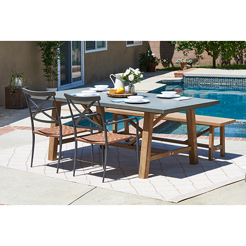 Amalfi Grey 4 Piece Outdoor Dining Set with Cement Tabletop