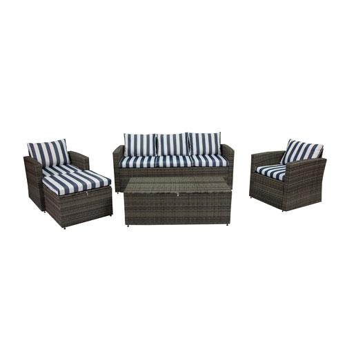 Rio Dark Grey and Blue White Stripe 5 Piece Outdoor Set with Storage and Ottoman