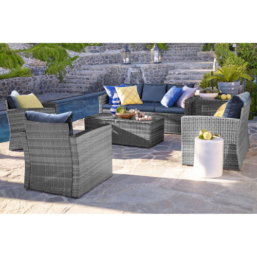 Rio Grey and Navy 6 Piece Outdoor Wicker Set with Storage