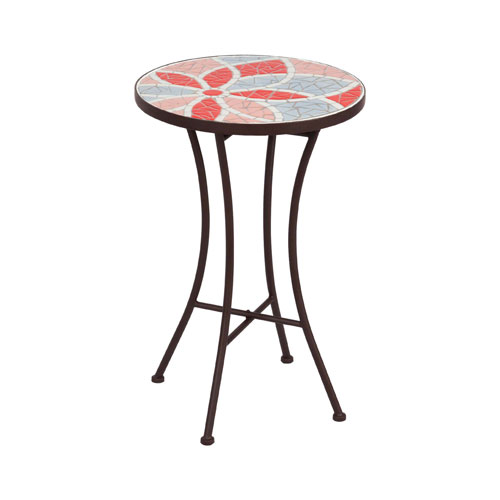 Red 14-Inch Mosaic Side Table