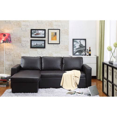 Georgetown Brown Bi-Cast Leather 2-Piece Sectional Sofa Bed with Storage