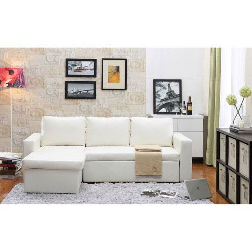 Georgetown White Bi-Cast Leather 2-Piece Sectional Sofa Bed with Storage