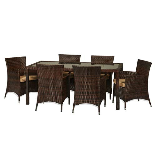 Rica Dark Brown 7-Piece All-Weather Wicker Dinning Set