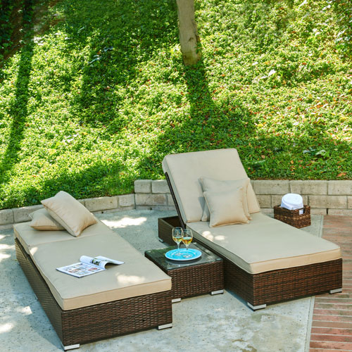 Lantis Dark Brown 3-Piece All-Weather Wicker Pool Side Lounge Set