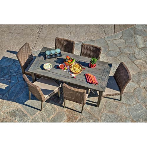 Thy Hom Winchester 7 Piece Antique Grey Hard Wood All Weather Wicker Patio Dining Set With Beige Cushions