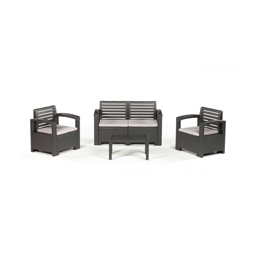 Thy-Hom Nevada 4 Piece Conversation Set, Gray