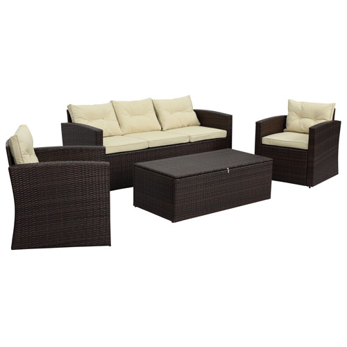Thy-Hom Rio-4 Piece 5 Seat Dark Brown All Weather Wicker Conversation Set with Storage and Tan Color Cushions