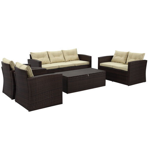 Rio-5 Piece 7 Seat Dark Brown All Weather Wicker Conversation Set with Storage and Tan Color Cushions