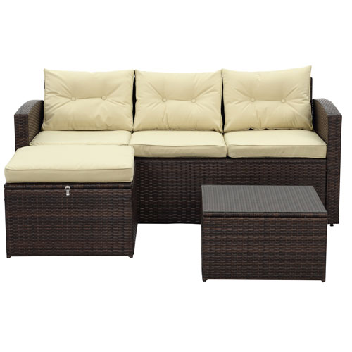Thy-Hom Rio-3 Piece Dark Brown All Weather Wicker Conversation Set with Storage and Tan Color Cushions