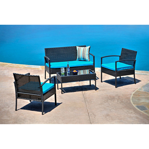 Thy-Hom Teaset Four-Piece Patio Conversation Set with Blue Cushions