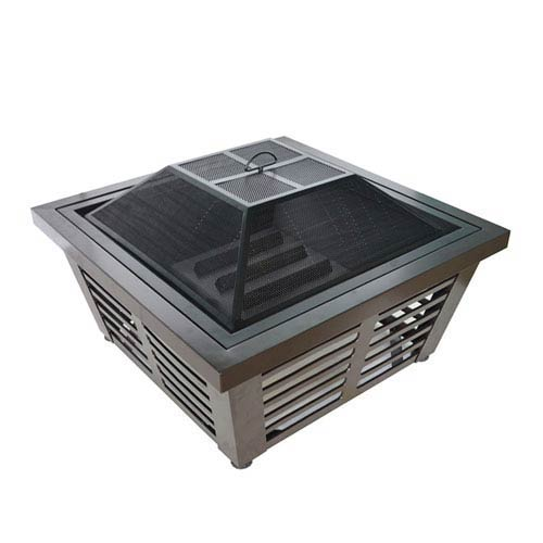 Hudson 34-inch Outdoor Wood Burning Square Fire Pit with Mesh Cover