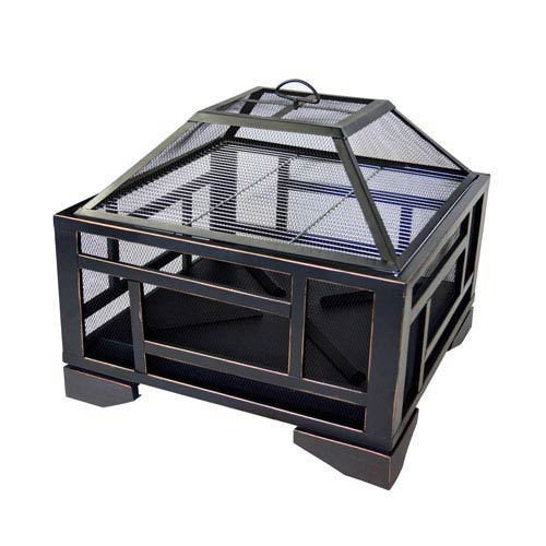 Solus 26-inch Outdoor Wood Burning Square Fire Pit with Mesh Cover