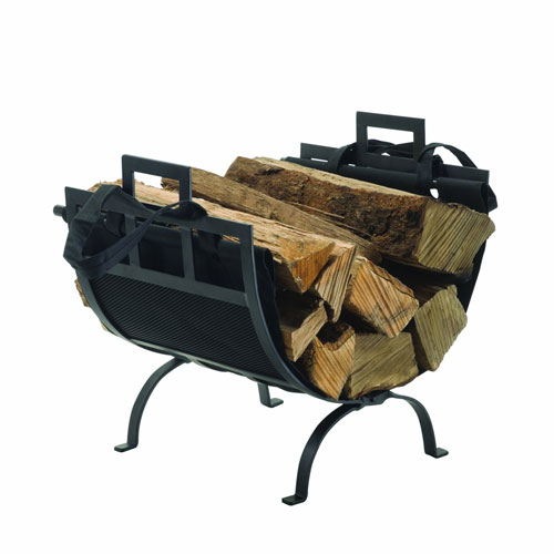 Pleasant Hearth Black Powder Coat Wrought Iron Fireplace Wood Holder and Canvas Log Tote Bag with Carry Handles