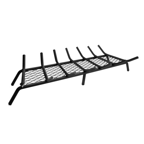 Pleasant Hearth Black 36-Inch Steel Fireplace Grate with 1/2-Inch Square Bars and Ember Retainer