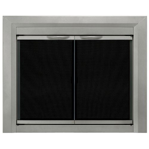 Pleasant Hearth Pleasant Hearth Sunlight Nickel Large Colby Cabinet Style Fireplace Screen and Smoked Glass Doors