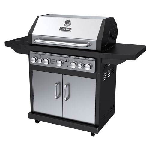 Dyna-Glo Stainless Steel and Black 79,000 BTU 5-Burner Propane Gas Grill with Side Burner and Rotisserie Burner