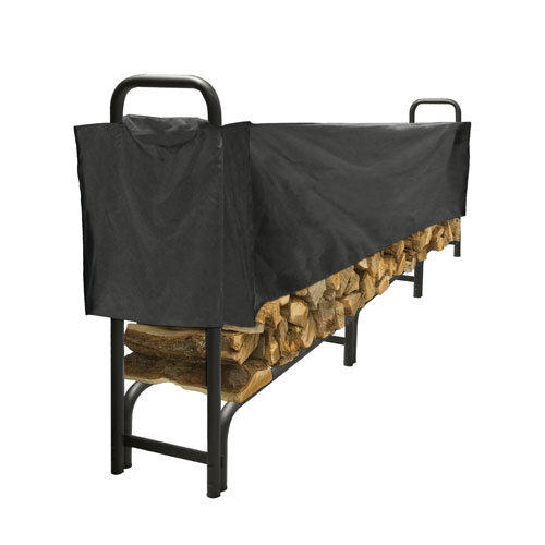 Pleasant Hearth Black Half-Length 12-Foot Log Rack Cover made of Weather-Resistant Polyester Material