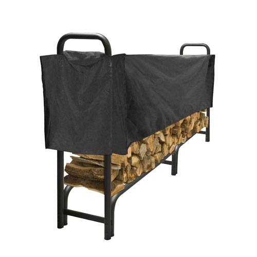 Pleasant Hearth Black Half-Length 8-Foot Log Rack Cover made of Weather-Resistant Polyester Material
