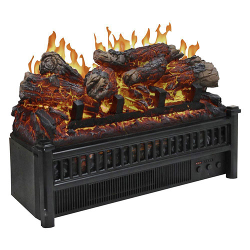 Pleasant Hearth Black Electric Fireplace Logs Heater with LED Glowing Ember Bed